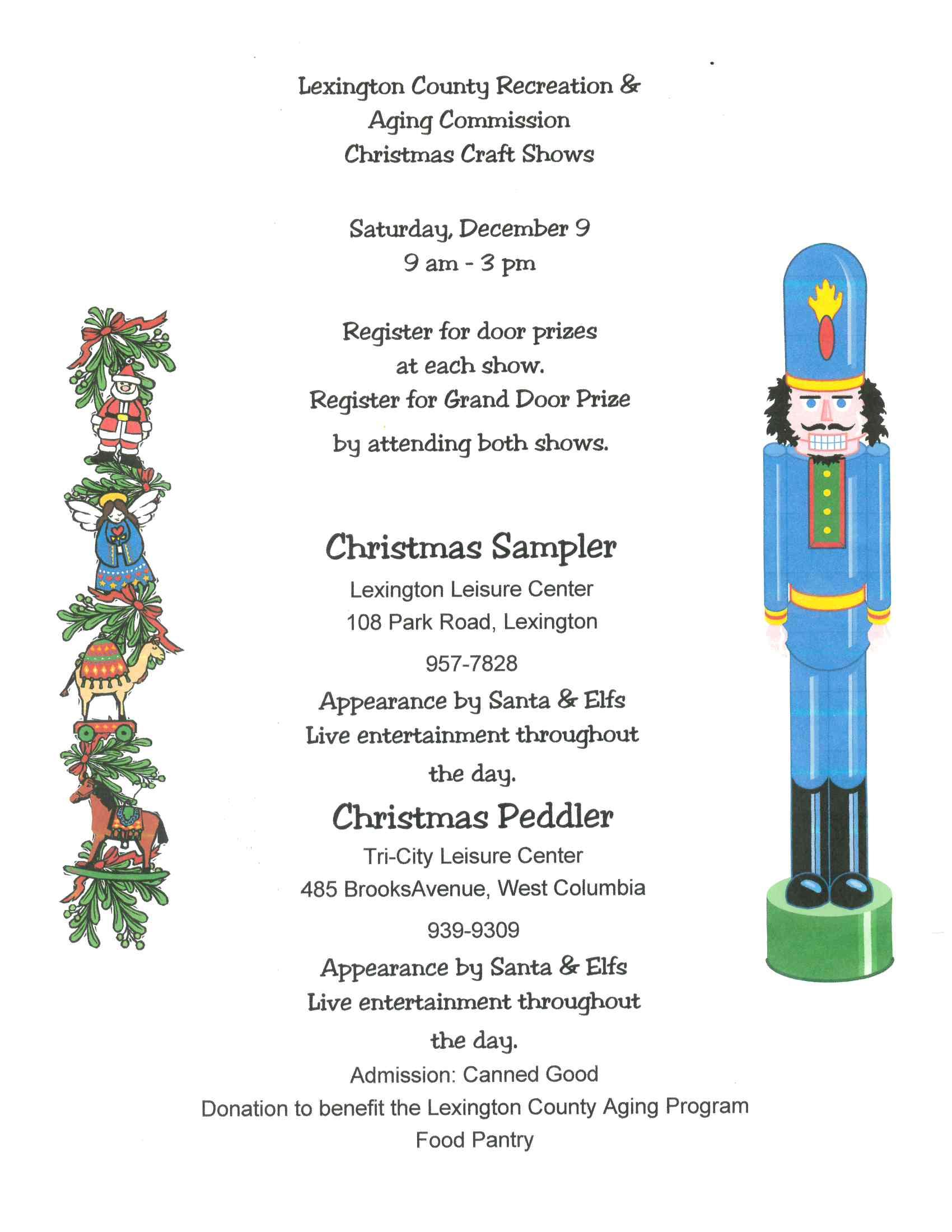 Christmas peddler and christmas sampler craft shows for Craft show columbia sc