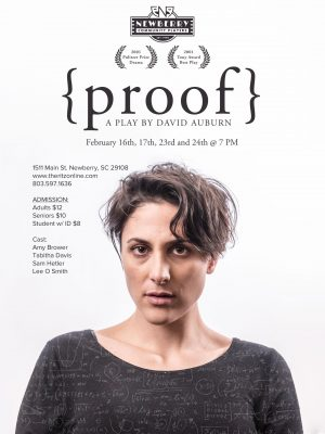 Newberry Community Players present the Tony/Pulitzer prize winning play PROOF, at the RITZ Theatre