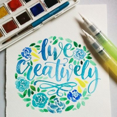 WaterCalligraphy with a Brush - by Barbie Mathis