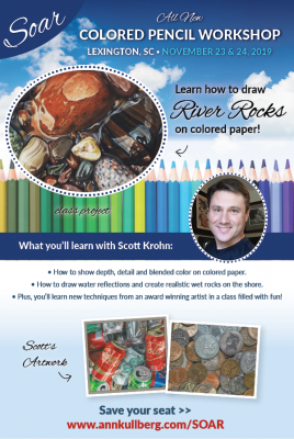 2-day SOAR Colored Pencil Workshop - River Rocks on Colored Paper