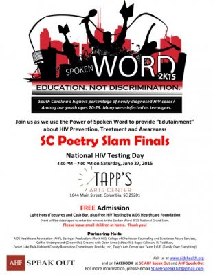 South Carolina AHF: SC Spoken Word 2K15 Poetry Slam Finals