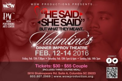 """He Said, She Said! But What They Meant..."" Valentine's Improv Dinner Theatre"