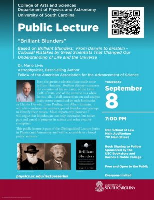"""Physics & Astronomy Public Lecture:  """"Brilliant Blunders"""""""