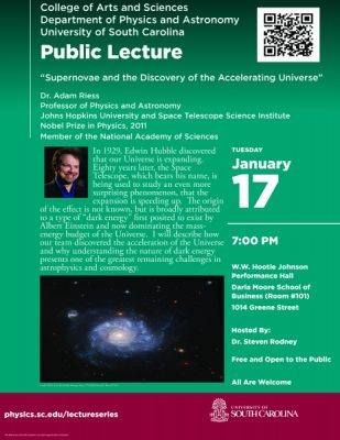 """Physics & Astronomy Public Lecture:  """"Supernovae and the Discovery of the Accelerating Universe"""""""