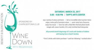 Wine Down with Beginnings SC Benefit & Silent Auction - Sponsored by Chapin Sertoma Club